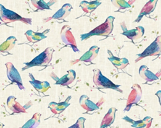 Hoffman All A Twitter Sweetpea Kari Carr Birds Teal Pink Purple P4390-447 Fabric BTY
