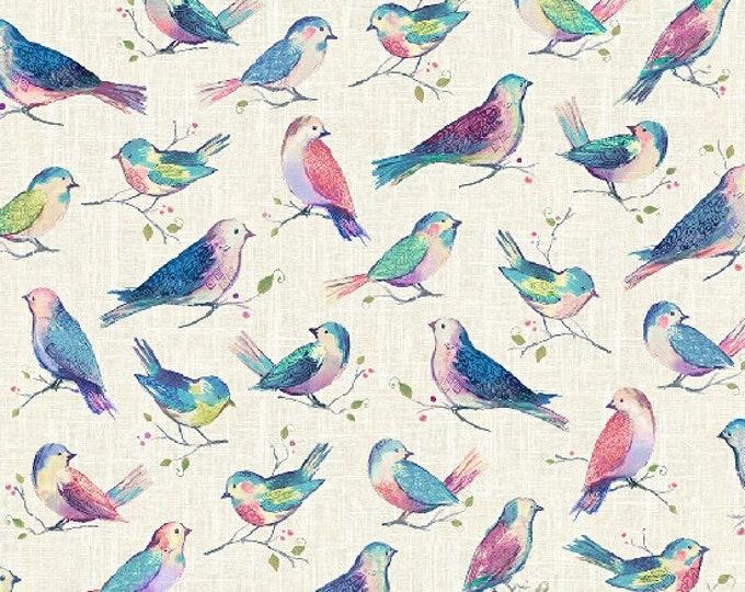Hoffman All A Twitter Sweetpea Kari Carr Birds Teal Pink Purple P4390-447 Fabric BTY