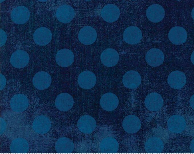 Moda Basic NAVY Blue Hits the Spot Polka Dot Grunge 30149-58 Fabric BTY