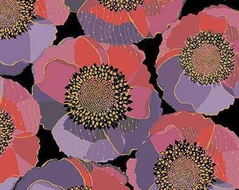 Quilting Treasures Bellisima Bellissima Packed Floral Poppy Black Pink Purple 26209-J BTY
