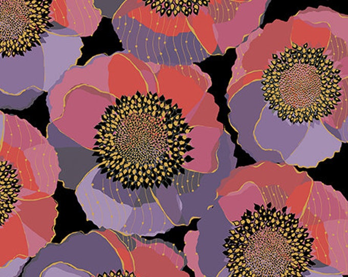 Quilting Treasures Bellisima Bellissima Packed Floral Poppy Black Pink Purple 26209-J BTY
