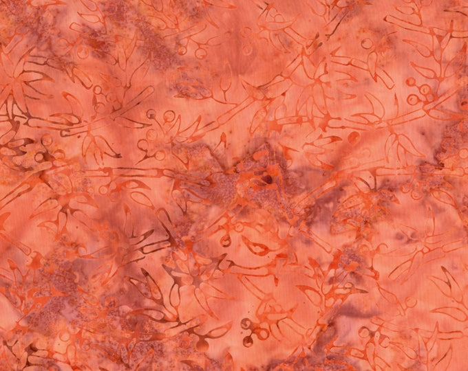 RJR Jinny Beyer Malam Batik Orange Swirl Floral Leaf Leaves Batik 2550-005 Fabric BTY