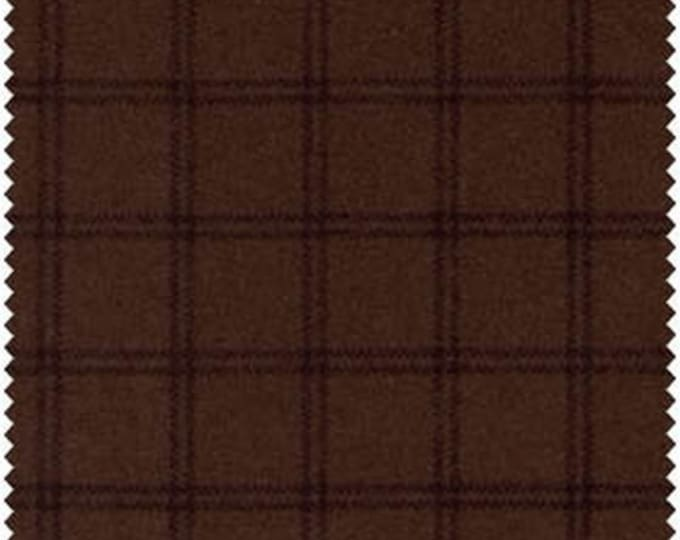 Maywood Woolies Dark Brown Black Large Windowpane Plaid FLANNEL Fabric 18127  BTHY