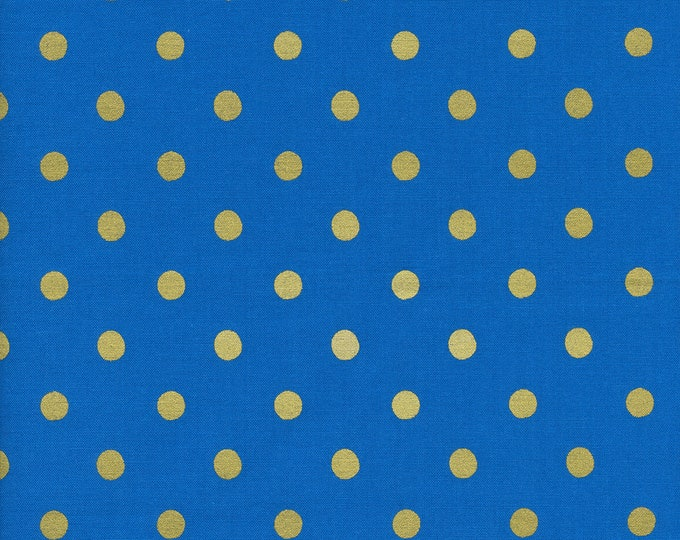 Cotton and Steel Rifle Paper Co Wonderland Blue Gold Metallic Polka Dot Dotty Fabric 8023-001 BTY