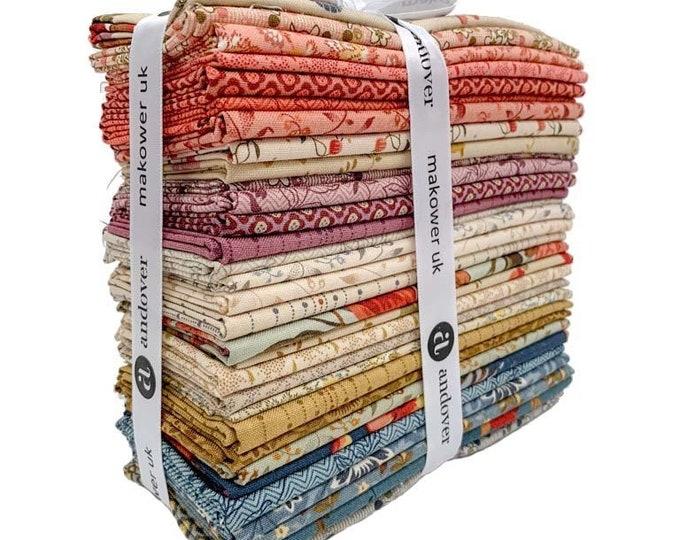 NEW Andover Edyta Sitar Laundry Basket Quilts LBQ Bed of Roses Cream Pink Red 32 Fat Eighth Bundle Fabric