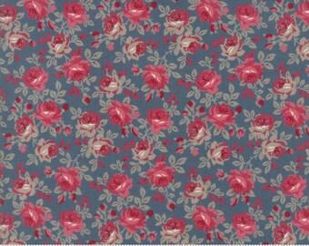 Moda Sweet Blend Blue Tonal Medium Floral Flower Laundry Basket Quilts LBQ Edyta Sitar 42291-17 Fabric BTY