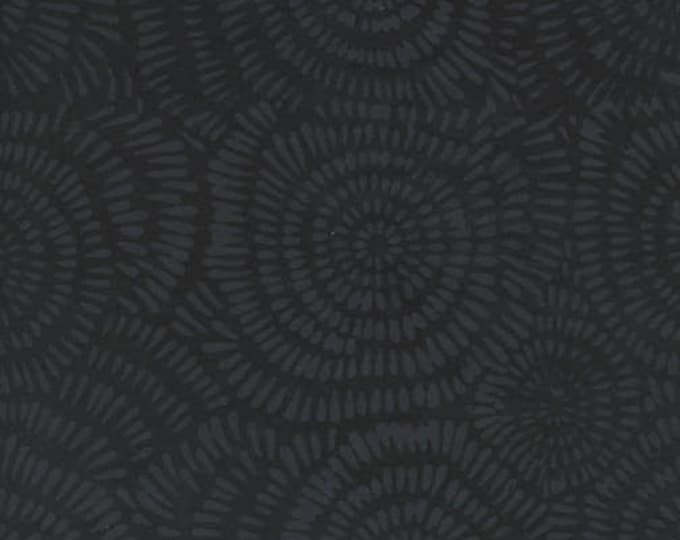 Island Batik Dandelion Black Grey Smoke Batik Fabric BE22-E1 BTY