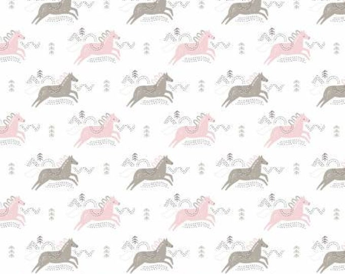 Camelot   Fabrics 21180505 Pretty Little Woods  Jumping Horses BTY