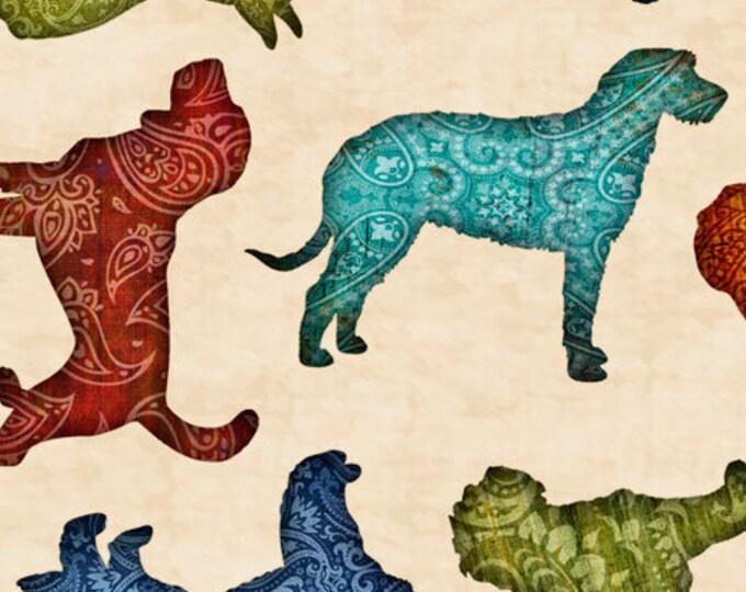 Must Love Dogs Dog Dan Morris QT Fabrics Cream Ecru Teal Beige Dog Fabric 26937-E