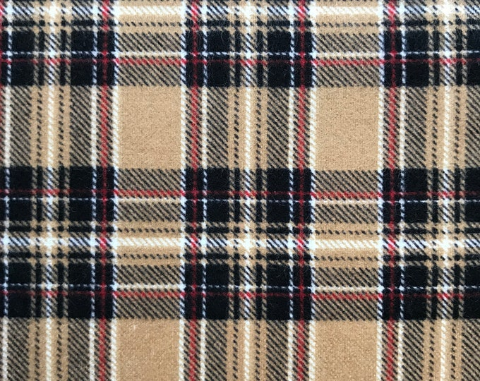 Windham Mad for Plaid Beige Tan Brown Red Plaid FLANNEL Fabric 43031-2 BTY