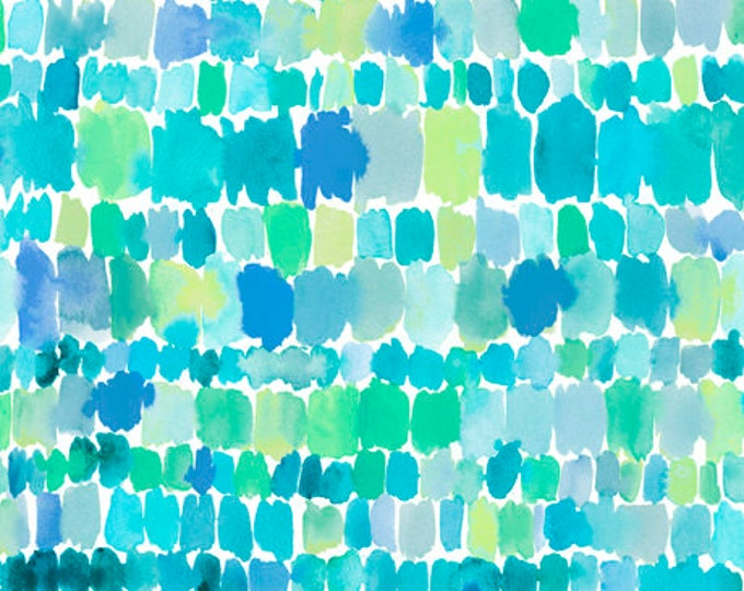 Quilting Treasures QT Fabrics Wild & Fruity Brush strokes Paint Splashes Teal Blue Green Fabric 27047-A BTY