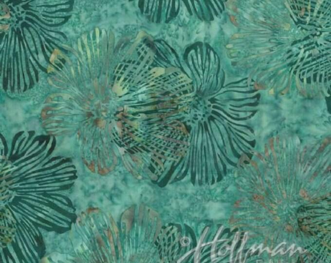 Hoffman P2982 Seahorse Floral Hybiscus Batik Fabric P2982-290 Teal Blue BTY