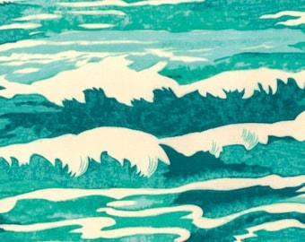 Free Spirit Tokyo Milk Neptune Mermaid Oceanus Waves Ocean Aqua Teal Fabric BTY PWTM010.8AQUA
