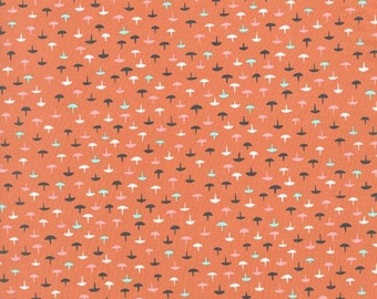 Cotton and Steel Homebody Cotton Lawn Coral Mushrooms Kimberly Kight BTY