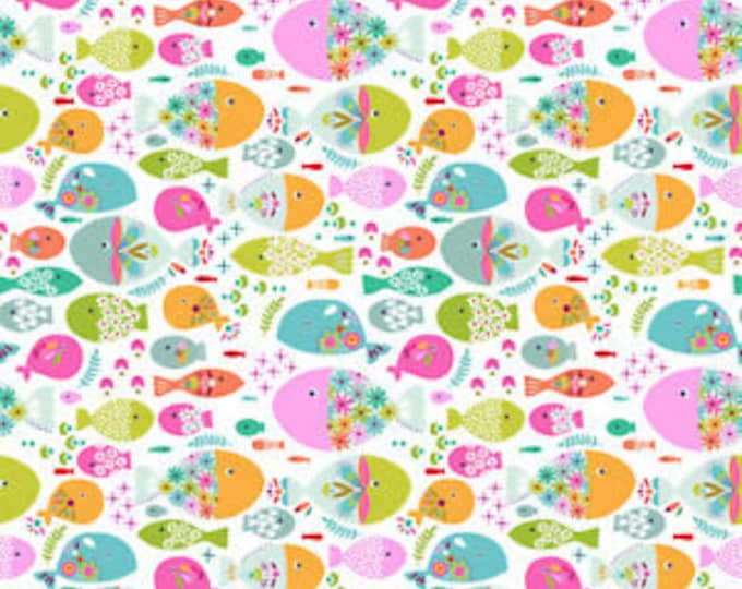 Blend Fabrics Go Fish Maude Ashbury Swimming with the Fishes Fish White Pink Fabric BTY