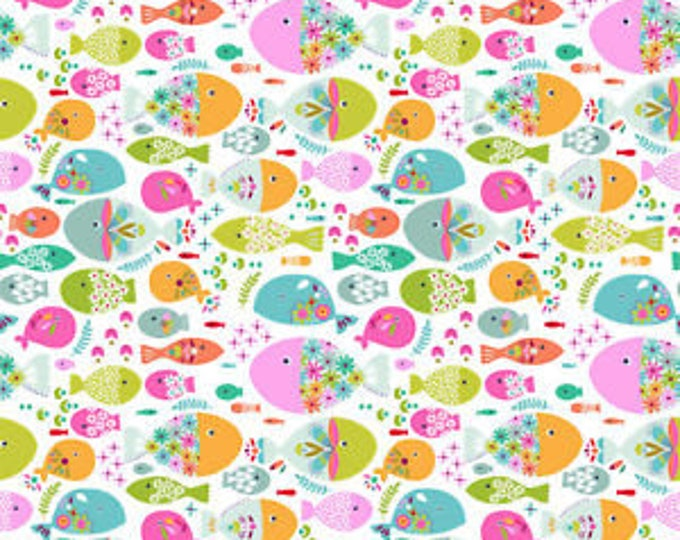 Blend Go Fish Maude Ashbury Swimming with the Fishes Fish White Pink Fabric BTY