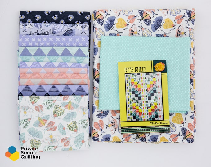 Bees Knees Moda Twilight One Canoe Two Bug Firefly Moth Periwinkle Pink Blue Fabric Villa Rosa Modern Quilt Kit 56 x 72