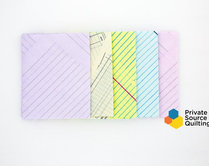 Windham JOT Heather Givans Notebook Yellow Pink Purple Blue Ledger Paper 5 Fat Quarter Fabric
