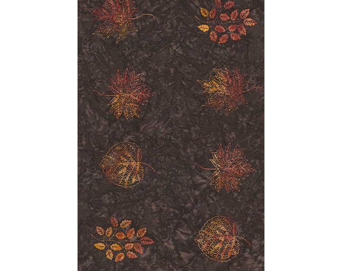 "Timeless Treasures Tonga Batiks Forest Floor Bark Large Spaced Leaves 24"" Panel B4875 Bark"