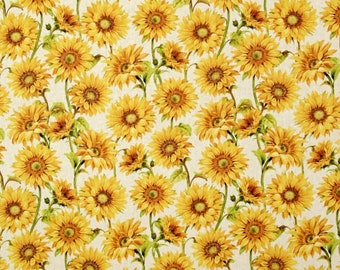 Wilmington Prints Follow the Sun Sunflower with Cream Beige Fabric 1409-157 BTY