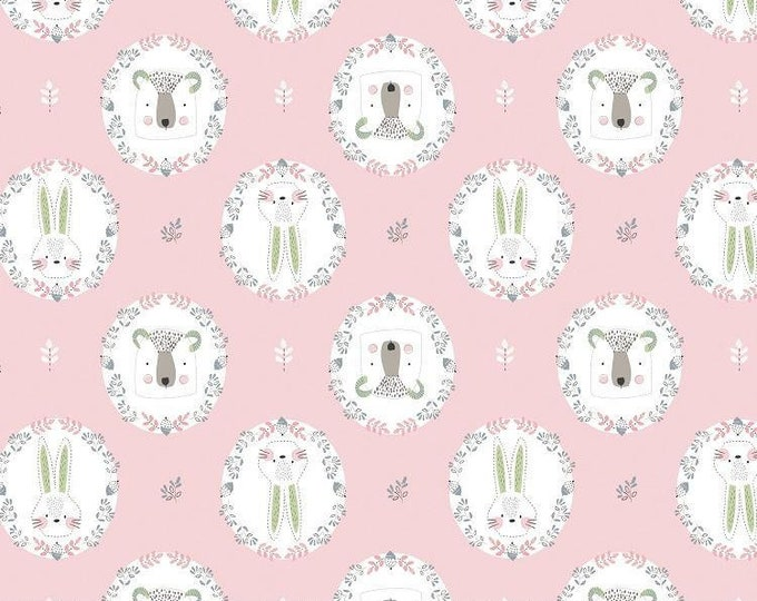 Camelot Fabrics Pretty Little Woods Flowers Frame 21180502 Pink BTY