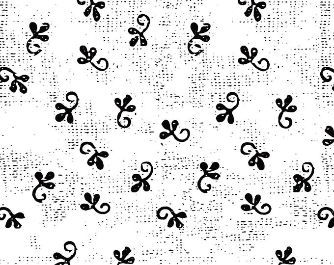 Windham Beyond the Reef Natalie Barnes Makers Home Black White Leaf Floral  Fabric BTY 43153-7