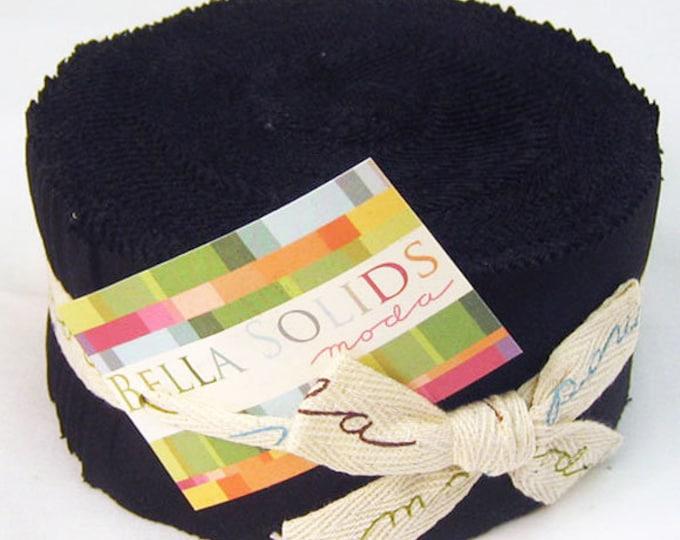 Moda Basic Bella Solid ALL BLACK Jelly Roll Fabric 42 2.5 Inch Strips