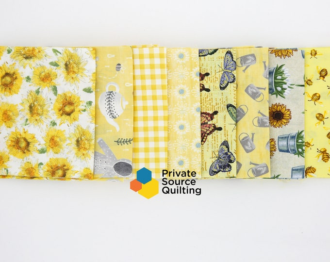 Windham Sunflowers and Butterflies Floral Garden Bee Butterfly Beige Yellow Fabric 8 Fat Quarter Bundle