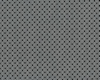 RJR Patrick Lose Odds and Ends Black and White Fabric 2910-001 Black Background White Serpentine BTY