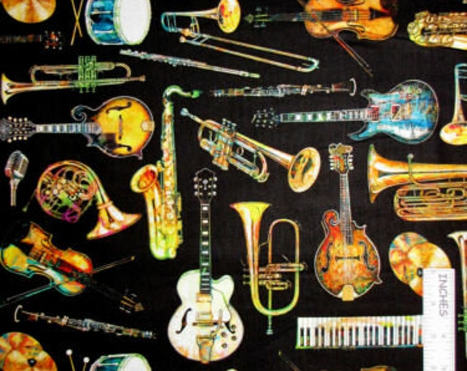 Quilting Treasures   Fine Tuning  Music Instrument Black Fabric BTY 26845-J