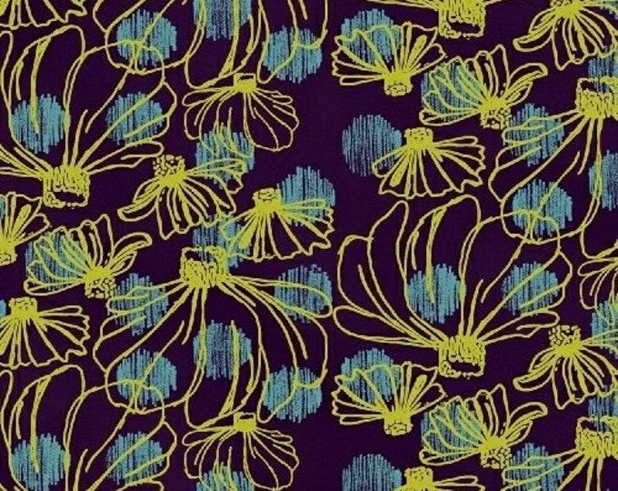 Windham Beyond the Reef Natalie Barnes Homeward Purple Blue Yellow Floral Fabric BTY 50809-3
