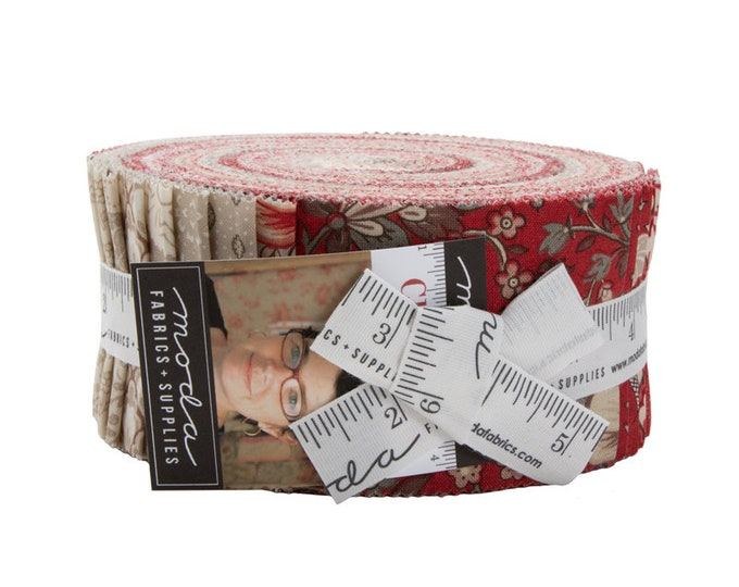 Moda French General Chafarcani Red Tan Cream Jelly Roll 2.5 Fabric Strips
