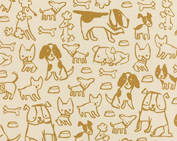 Moda Woof Woof Meow Stacy Iest Hsu Dog Bone Gold Yellow Natural Beige Fabric 20563-12 BTHY