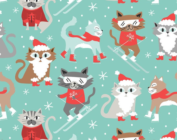 Blend Fabrics Snowlandia Maude Ashbury Kitty Patrol Cat Snow Ski Sled Winter Blue Fabric BTHY