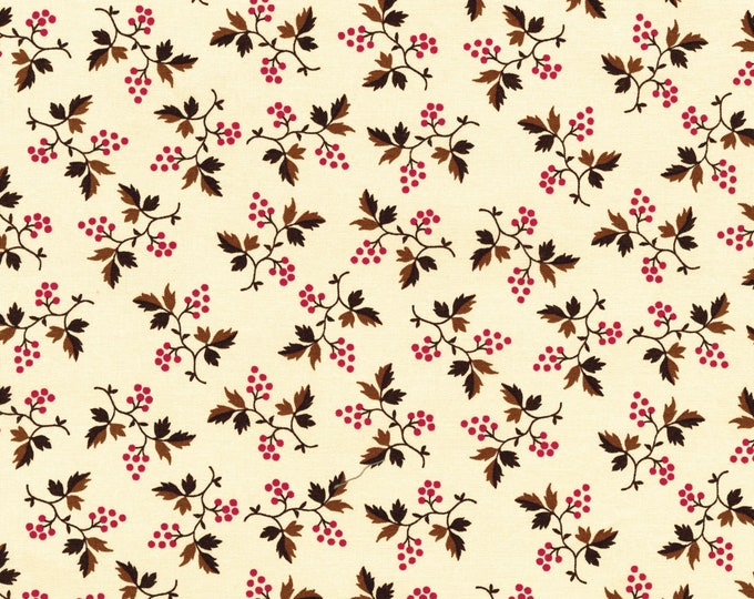 RJR Chocolate & Bubble Gum Cream Pink Tonal Floral Civil Way Fabric 2718-002 BTY