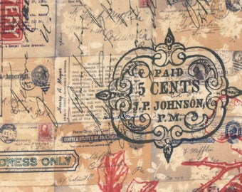 Tim Holtz - Correspondence - Special Delivery Neutral Writing Fabric PWTH043 BTY