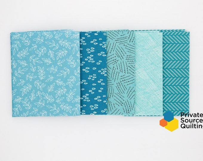 Windham Todays Turquoise Teal Aqua Seaglass Blender Color Pack Fabric 5 Fat Quarter Bundle