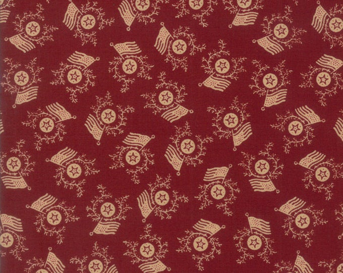 Moda Liberty Gatherings Red with Cream Off White Tan American Flag Patriotic Fabric 1204-11 BTY