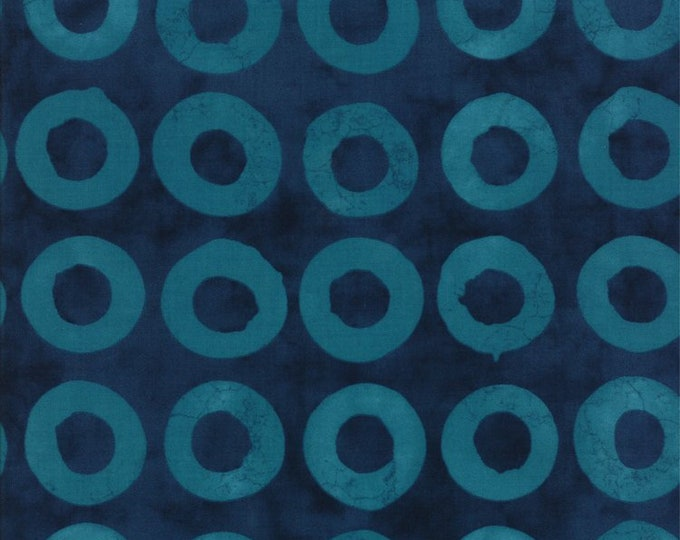 Moda Simple Marks summer Fabric Cotton Light Blue Circles on Dark Blue Background 23223-26  BTY