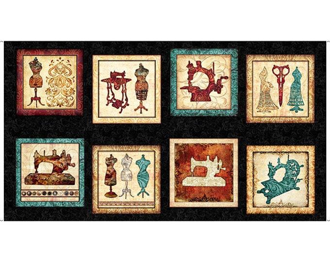 Quilting Treasures Seamless Dan Morris Sewing Machine Motif Quilter Black Panel Fabric