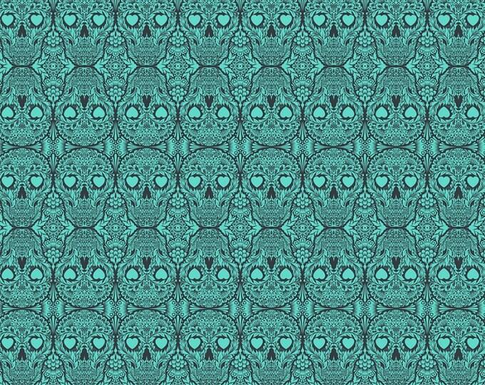 Free Spirit Tula Pink De La Luna Spirit Teal Green Sugar Skull Calaveras Fabric PWTP111 BTY