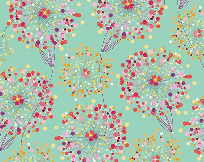 Quilting Treasures Confetti Blossoms Packed Teal Green Background Pink Purple Orange Floral Fabric 26234-H BTY