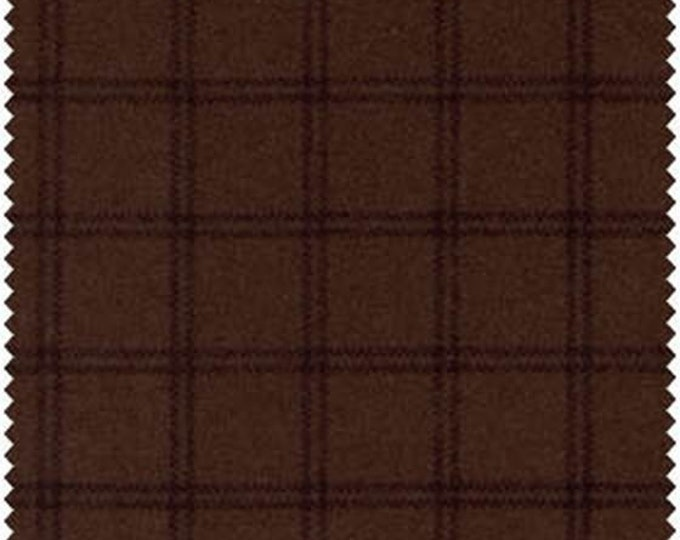 Maywood Woolies Dark Brown Windowpane Plaid FLANNEL Fabric 18127-J BTHY