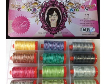 AURIFIL Set of 12 MAKO 50 Wt Tula Pink Varigated Collection Quilting Thread