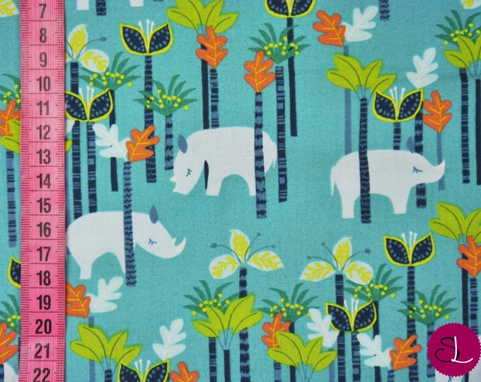 Blend Sundaland Jungle Katy Tanis Rhino Aqua Teal Trees Fabric BTY