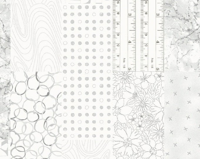 Marcus Fade Out Modern Background White Gray Grey Tonal Fabric 9830-0145 BTY