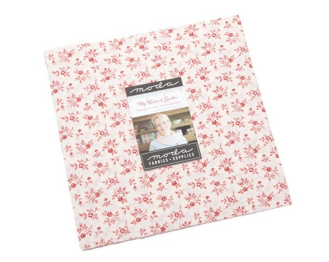 "My Redwork Garden 10"" Layer Cake by Bunny Hill Designs for Moda -2950LC"