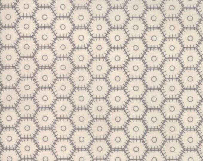Moda Basic Grey METROPOLIS Hexagon Hexie Stitch White Cream Beige 30562-15 Fabric BTY
