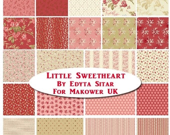 Andover Edyta Sitar Laundry Basket Quilts LBQ Little Sweetheart Pink Red Cream 22 Fat Quarter Bundle Fabric