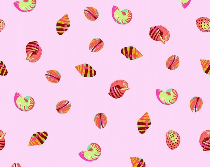 NEW Free Spirit Tula Pink Zuma Ocean Glowfish Pink Green Teal Sea Shell Fabric PWTP121 BTY